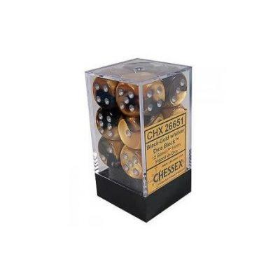 chessex set de 12 des 6 gemini 16mm noir or argent
